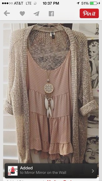 blouse flowy ivory cardigan tank top peach cami dressy jewels