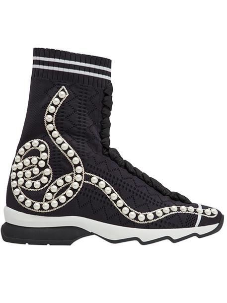 open women spandex sneakers black knit shoes