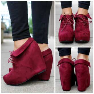 clogs wedges burgundy boots