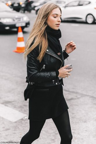 jacket tumblr black jacket black leather jacket leather jacket scarf dress black dress mini dress tights opaque tights all black everything fashion week 2017 streetstyle