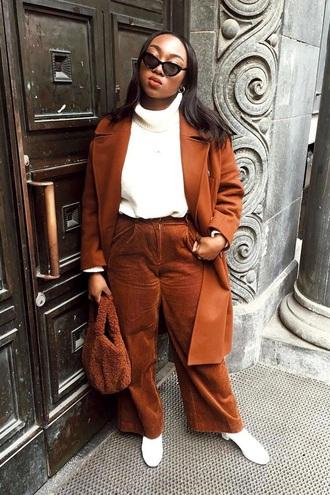 pants corduroy corduroy pants brown pants coat brown coat top boots white boots white top curvy plus size