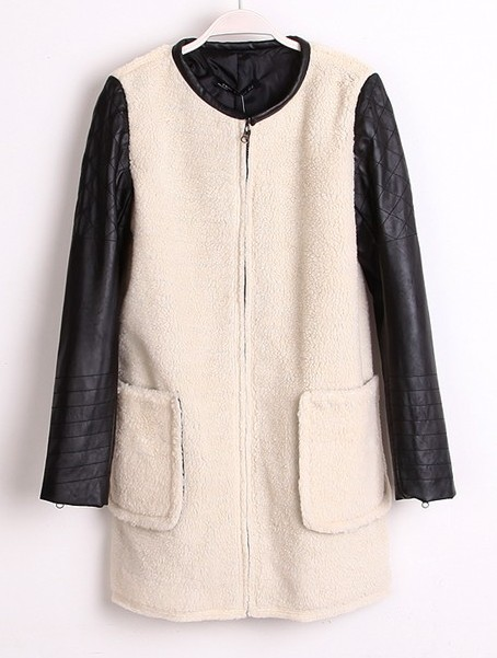 White Contrast Leather Cuff Zipper Pockets Coat - Sheinside.com