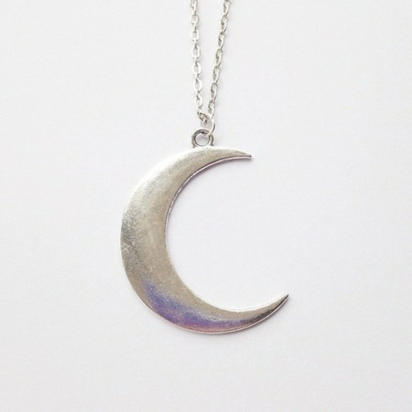 jewels moon necklace jewelry silver cute grunge hipster girl pretty