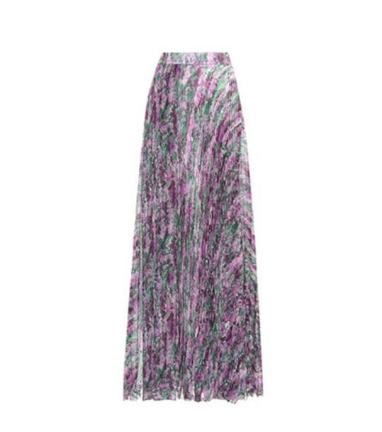 Max Mara Floral-printed pleated skirt in purple