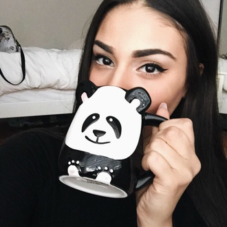 home accessory cup panda black mug