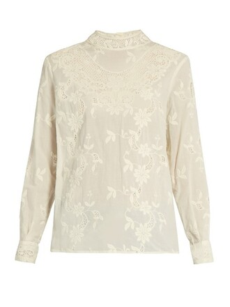 top long embroidered floral cotton cream