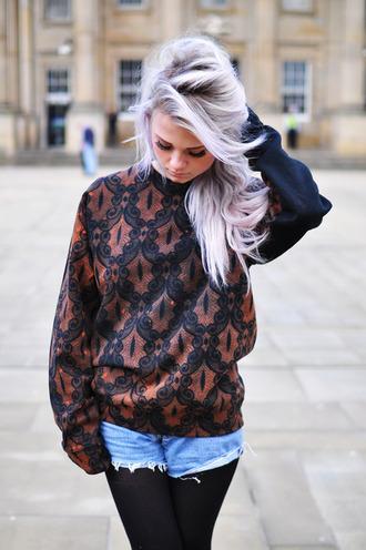 jacket jumpre pullover pattern design retro punk goth grunge hipster romper sweater