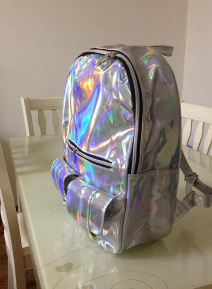 новый 2014 продвижение серебро голограмма лазерная рюкзак мужчины сумка кожаная сумка многоцветный бизнес молния рюкзак женщин, принадлежащий категории рюкзаки и относящийся к багаж и сумки на сайте aliexpress.com