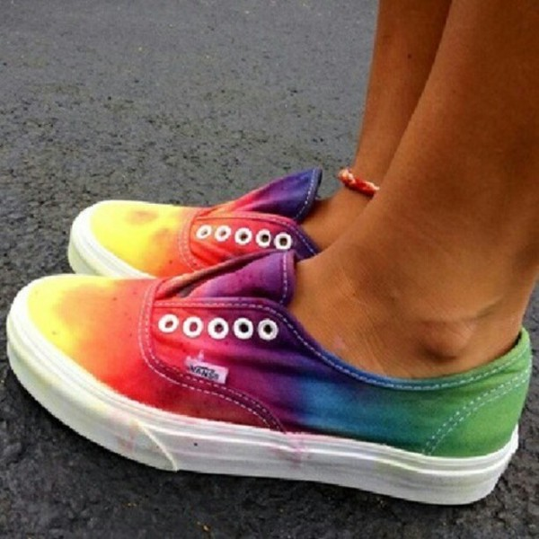 shoes vans trainers colorful sneakers vans color rainbow top colorful green blue yellow orange purple vans tie dye