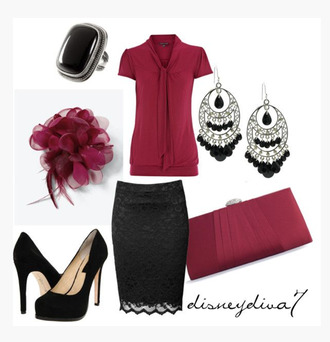 blouse top shirt short sleeve fuchsia fuchsia top v neck skirt pencil skirt lace lace skirt earrings ring hair accessory shoes heels high heels pumps platform pumps purse clutch clothes outfit black heels black