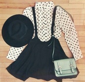 skirt,black,skirt with suspenders,spotty,shirt,long sleeves,hat,heart,blouse,bag