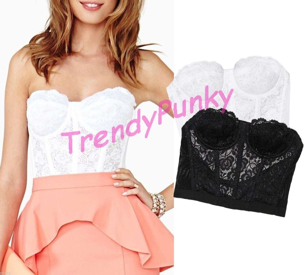 Floral lace bustier crop top bra bralette corset strapless bodycon tank 0017
