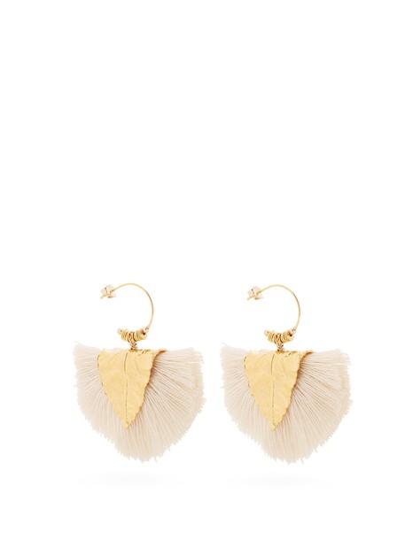 ELISE TSIKIS tassel earrings white jewels