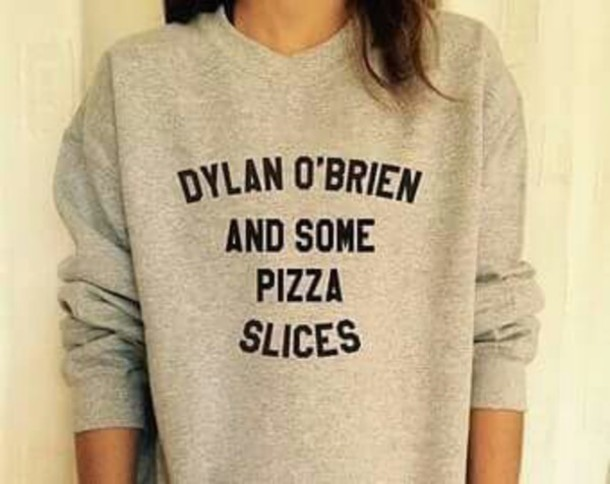 sweater dylan o'brien grey sweater blouse pizza