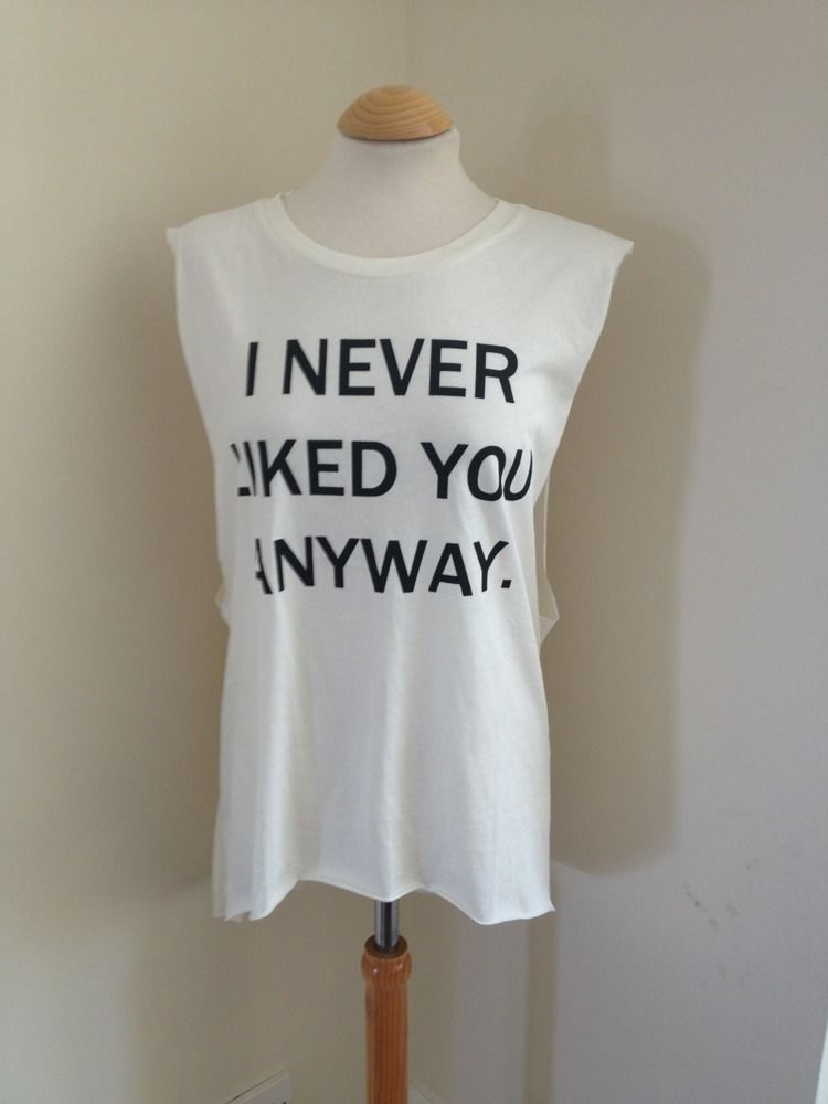 NEW H&M I NEVER LIKED YOU ANYWAY DROP SIDE LONG VEST TOP TEE MEDIUM BLOGGERS | eBay