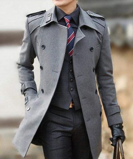 trench coat coat jacket menswear pea coat grey coat instagram
