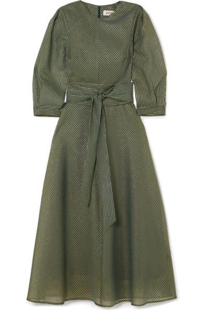 dress midi dress metallic midi cotton green