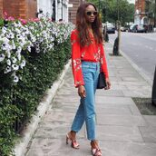 symphony of silk,blogger,bag,sunglasses,shirt,blouse,long sleeves,floral top,boyfriend jeans,red heels,black bag,shoulder bag,gucci mules