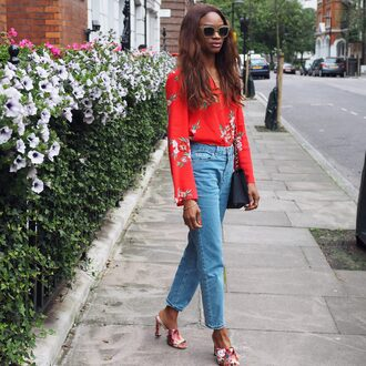 symphony of silk blogger bag sunglasses shirt blouse long sleeves floral top boyfriend jeans red heels black bag shoulder bag gucci mules