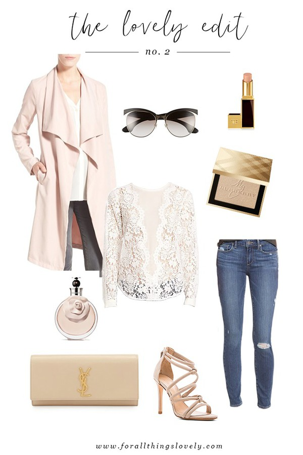 for all things lovely blogger jacket top sunglasses make-up shoes bag