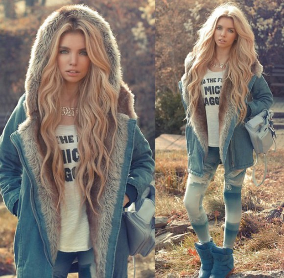 denim denim jacket coat fashion winter coat european fur fake fur leggings blonde hair cozy warm winter coats autumn lookbook
