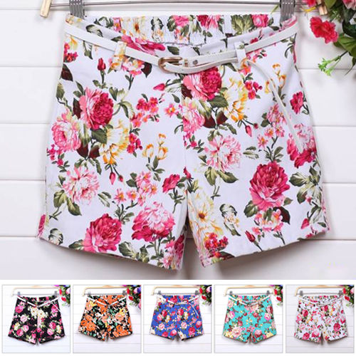 1pc New Women Flower Floral Print Elastic Waist Shorts Mini Short Pants w Belt | eBay
