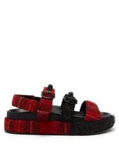 pearl,embellished,sandals,black,tartan,red,shoes