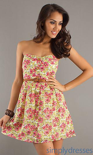 Floral print summer dress, strapless sundress,