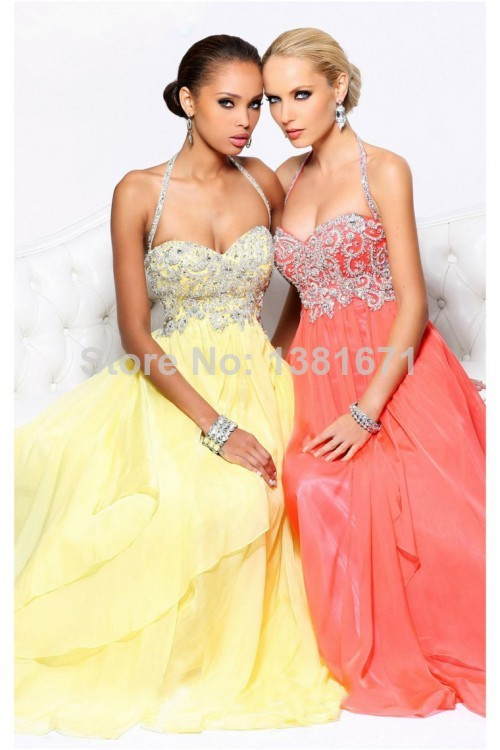 Aliexpress.com : Buy 2014 Newest Stylish Halter Neckline Applique Beading Tops A line Chiffon Long Evening Dress from Reliable beaded open back dresses suppliers on Aojia Top Evening Dress