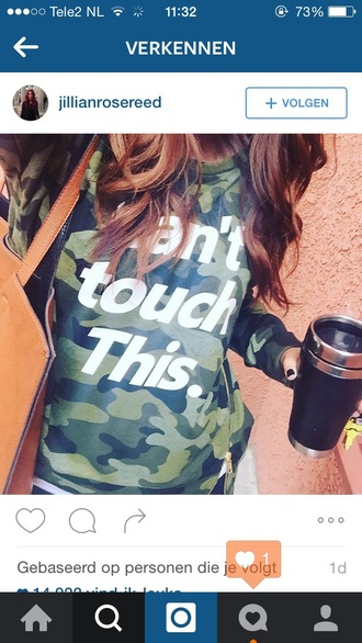 sweater shirt camouflage can't touch this army print