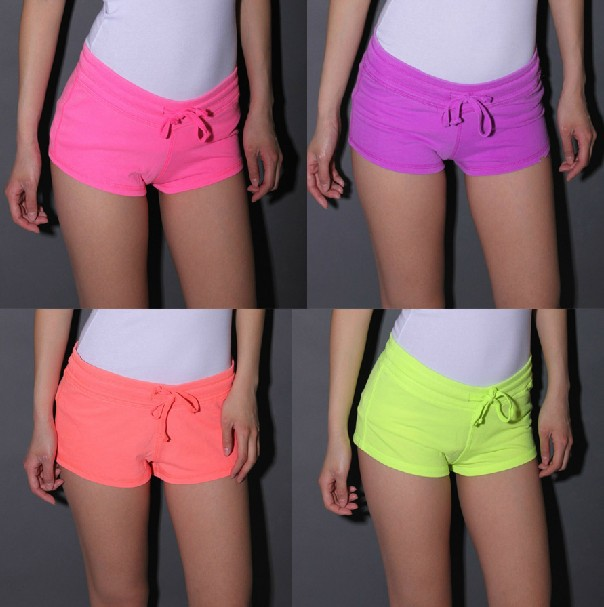 Free shipping 2013American Apparel fashion sexy summer women Neon color  sport shorts Package hip Low waist drawstring shorts-in Shorts from Apparel & Accessories on Aliexpress.com