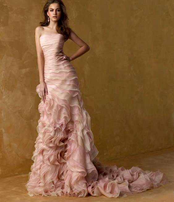 Pink Mermaid Wedding Dresses Strapless Ruffles Chapel Train Organza ...