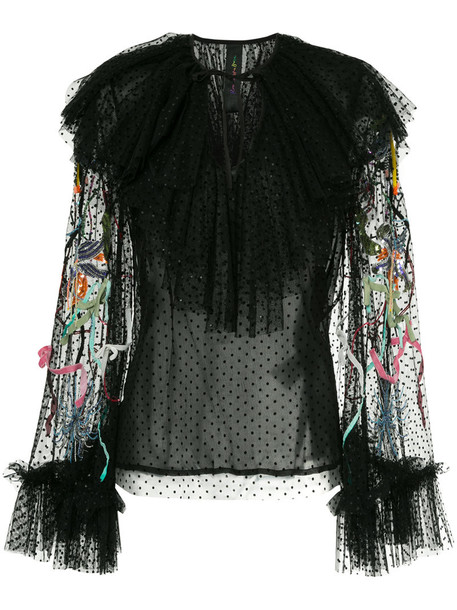 blouse unicorn women beaded black silk top