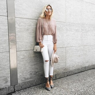 sunglasses nude shirt tumblr round sunglasses mirrored sunglasses jeans white jeans white ripped jeans ripped jeans cropped jeans shirt puffed sleeves bag white bag hat felt hat fedora nude hat shoes high heels grey shoes dusty pink blush pink strappy shoes outfit idea