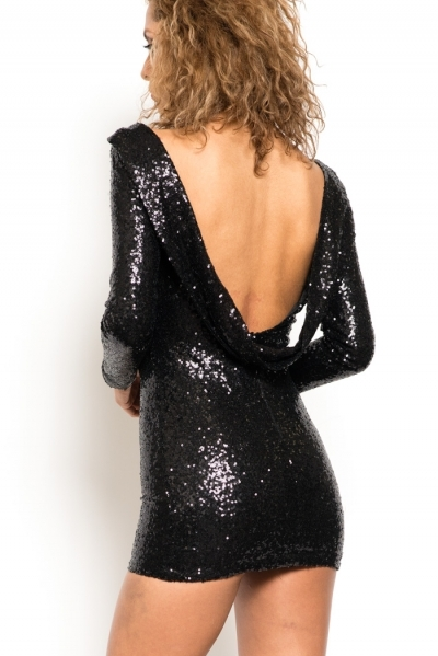 Open back black sequin mini dress · trendyish · online store powered by storenvy