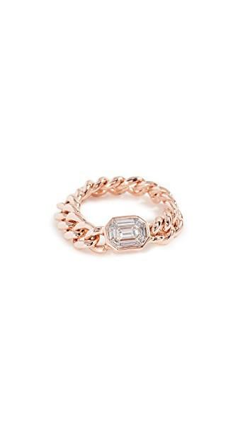 Shay 18k Gold Emerald Cut Illusion Diamond Link Ring