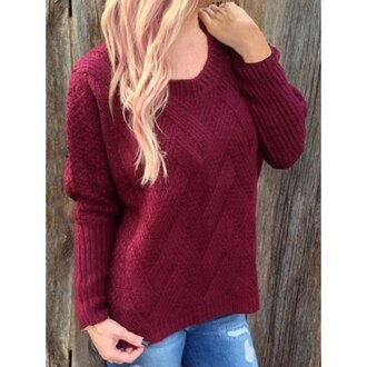 sweater fashion trendy burgundy long sleeves sweet women's scoop neck deep red long sleeve sweater style fall outfits knitwear warm rose wholesale-dec