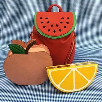 bag pretty. cute fruits clutch red yellow green