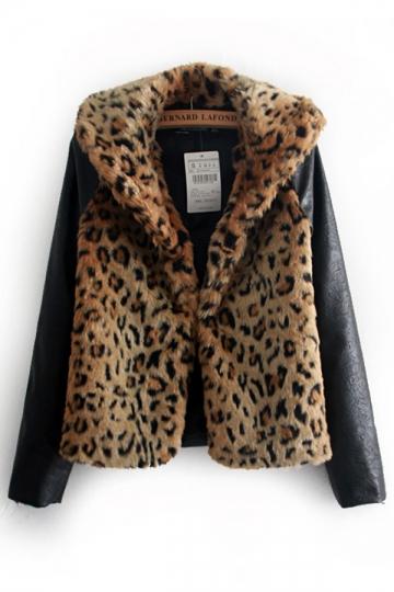 Punk Style Leopard Contrast Faux Fur Coat [SHWM00093] - PersunMall.com