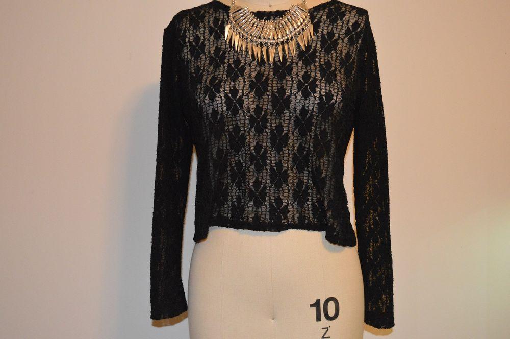 Vintage black lace long sleeve top size 10