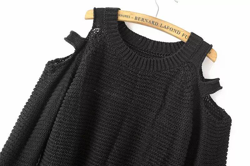Black Off the Shoulder Long Sleeve Knit Sweater - Sheinside.com