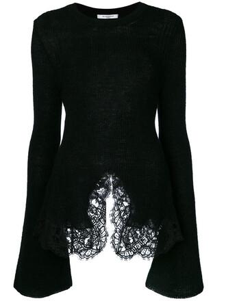 top women lace cotton black wool knit
