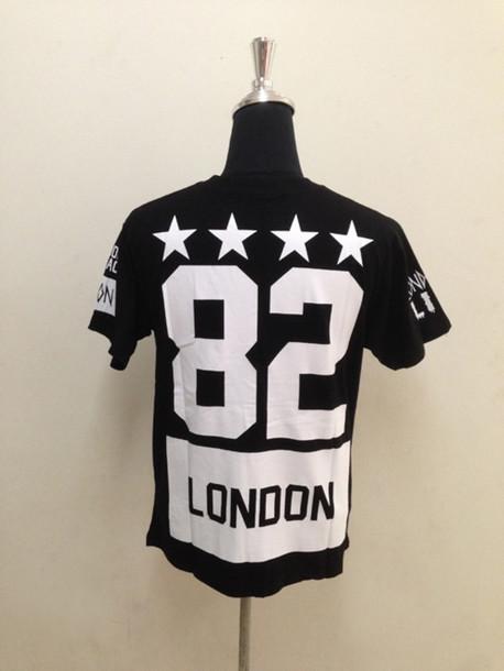 t-shirt clothes black london 82 white stars