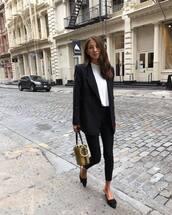shoes,suede,black pants,skinny pants,high waisted pants,blazer,white t-shirt,handbag,snake print