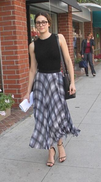 skirt emmy rossum sandals midi skirt top