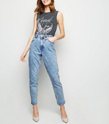 Pale Blue Acid Wash Tori Mom Jeans   New Look