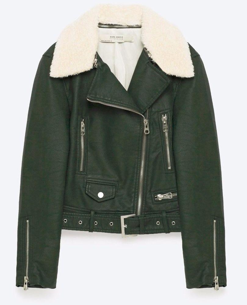 dca3aa521 ZARA women 2017 LEATHER EFFECT JACKET fur collar BOTTLE GREEN XS-XL REF  3046/239