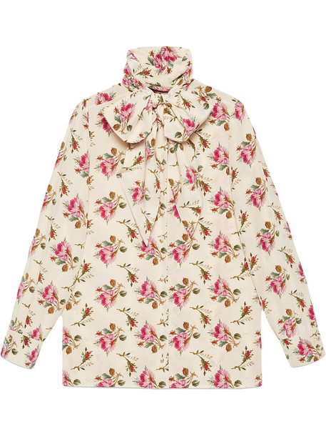 gucci shirt rose women nude print silk top
