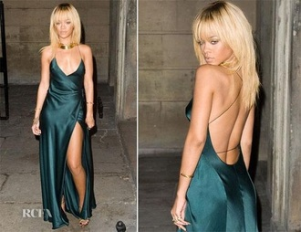 dress green dress maxi dress wrap dress rihanna
