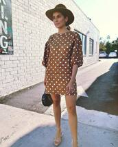 dress,polka dots,mini dress,mid heel sandals,bag,hat